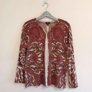 Talbots   Plus Merino Wool Patterned Cardigan
